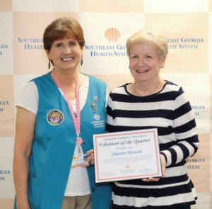 Sharon Bowen Receiving Volunteer of the Quarter